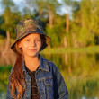 Little girl in military cap — Stockfoto