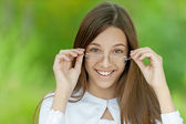 Portrait of pretty brunette girl — Stock Photo