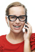 Young woman calls on cell phone — Stock Photo