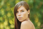 Beautiful young woman close up — Stock Photo