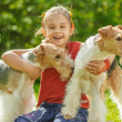 Young Girl and two fox terriers — Stock Photo