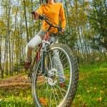 Beautiful girl riding bicycle — Stock Photo