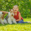 Young Girl and two fox terriers — Stock Photo #45764501