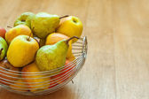 Basket with apples and pears — Stock Photo