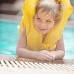 Little girl in inflatable waistcoat — Stock Photo #49518067