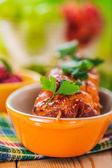 The meat kebab skewer — Stock Photo
