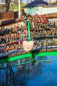 Locks on railing of bridge — Stock Photo