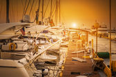 Yachts parked on mooring — Stock Photo