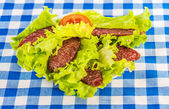 Sliced smoked sausage, tomatoes, lettuce — Foto Stock