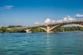 Metro Bridge across Dnipro River in Kyiv — Stock Photo