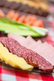 Abundancia alimentos queso, embutidos, pan, cebollas verdes, tomates, cucu — Foto de Stock
