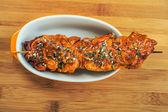 Meat kebab skewer — Stock Photo