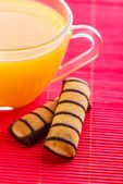 Orange juice and cookies — Stock Photo