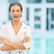 Laughing business woman in glasses — Stock Photo #5772856