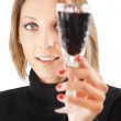 Beautiful young girl with glass of wine isolated on white backgr — Stock Photo #8579642