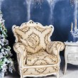 Ancient chair in a Christmas interior — Lizenzfreies Foto