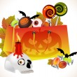 Halloween shopping bag with scary face and sweets - Stock Vector