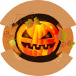 Halloween label with pumpkin - Imagen vectorial