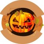 Halloween label with pumpkin — Stock Vector #12560590
