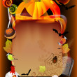 Royalty-Free Stock Vector Image: Halloween illustration with pumpkin and old paper