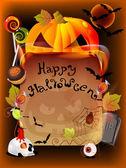 Illustrazione di halloween con la zucca e la vecchia carta — Vettoriale Stock