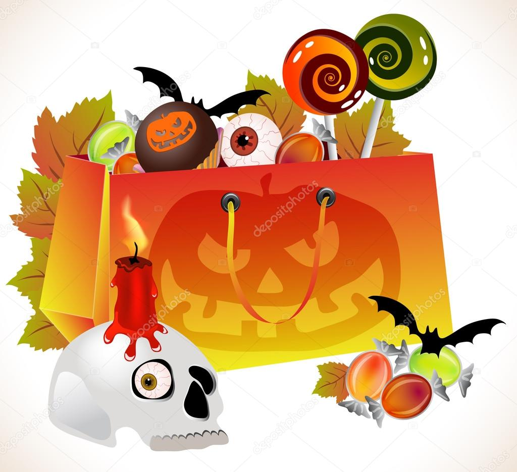 Halloween background with shopping bag with scary face, sweets and skull over white — Stock Vector #12560586