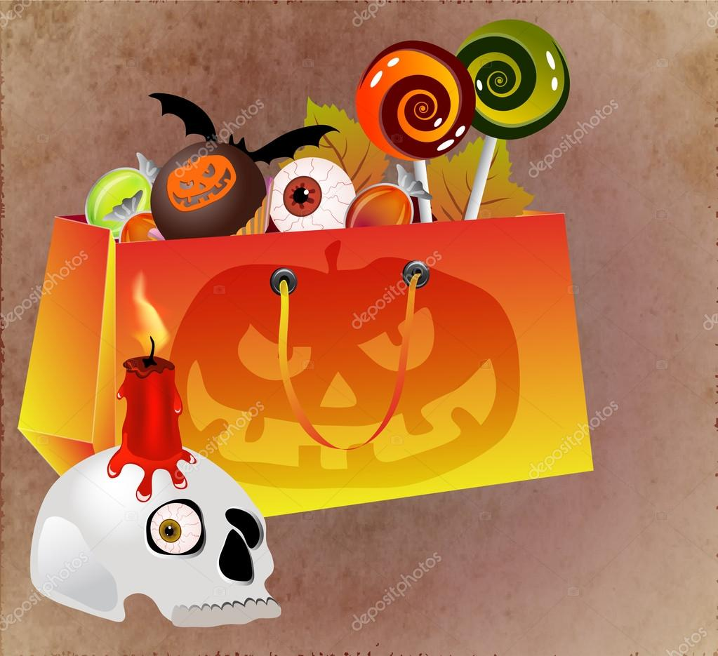 Halloween shopping bag with scary face, sweets and skull — Stock Vector #12560587