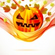 Abstract Halloween autumn background with wave and pumpkin — Stock Vector
