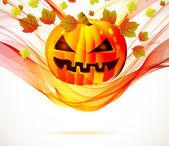 Halloween outono abstrato com onda e abóbora — Vetorial Stock