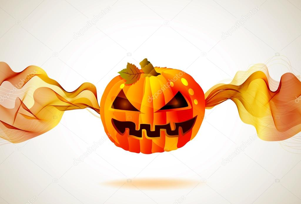 Abstract Halloween autumn background with wave and pumpkin, illustration for your design — Stock Vector #12591111
