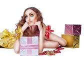 Mode sourire modèle femme avec les lumineux maquillage beauté — Photo