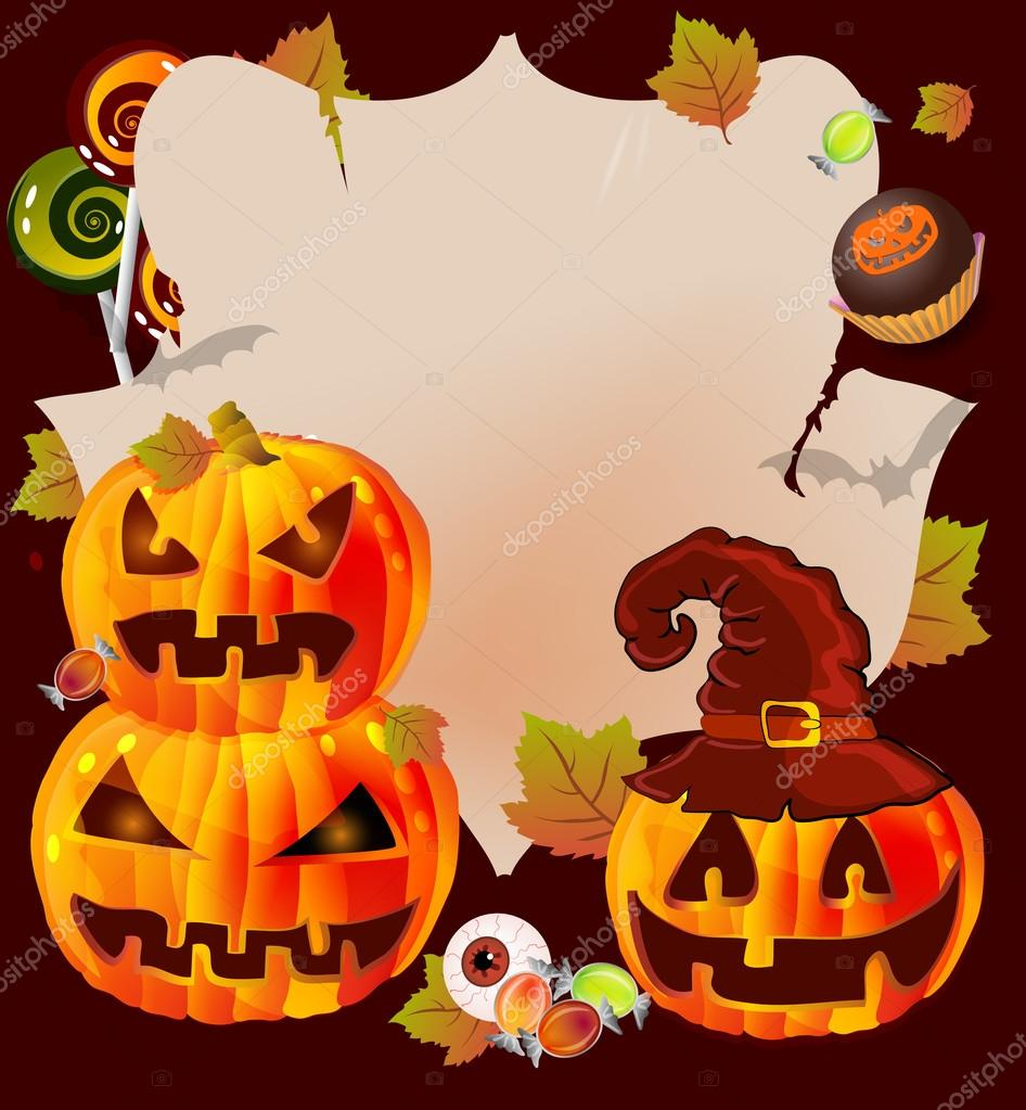 Halloween card with place for text. pumpkin, candies  illustration — ベクター素材ストック #12661012