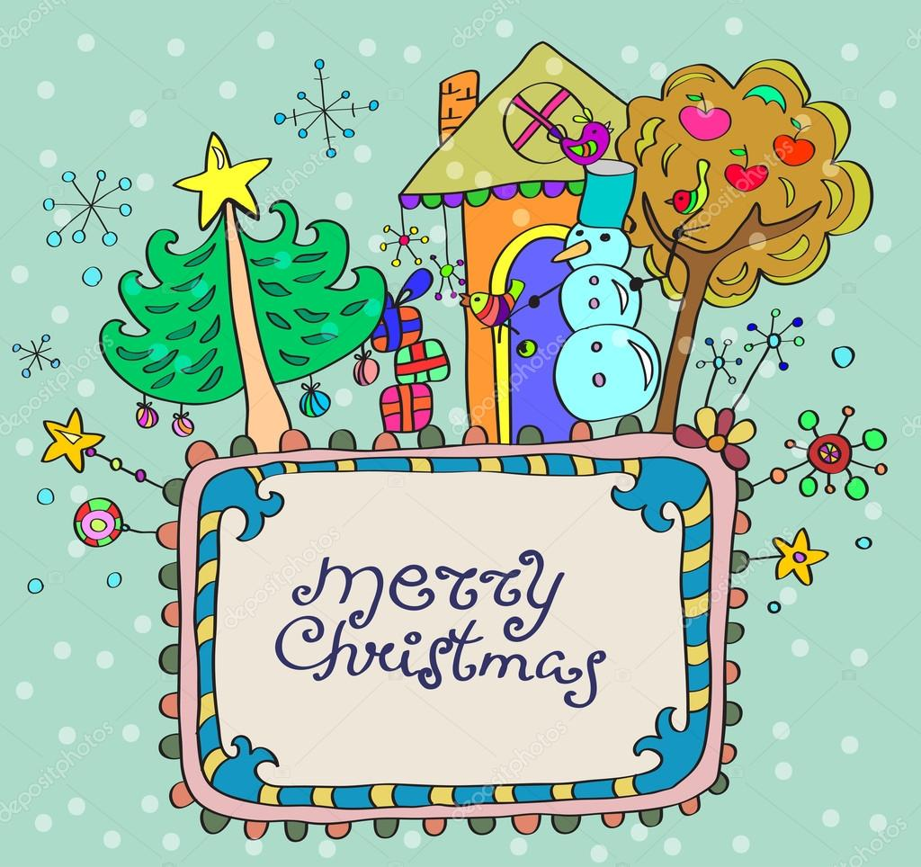 Christmas hand drawn background with place for text, cute illustration — Stock Vector #12779374