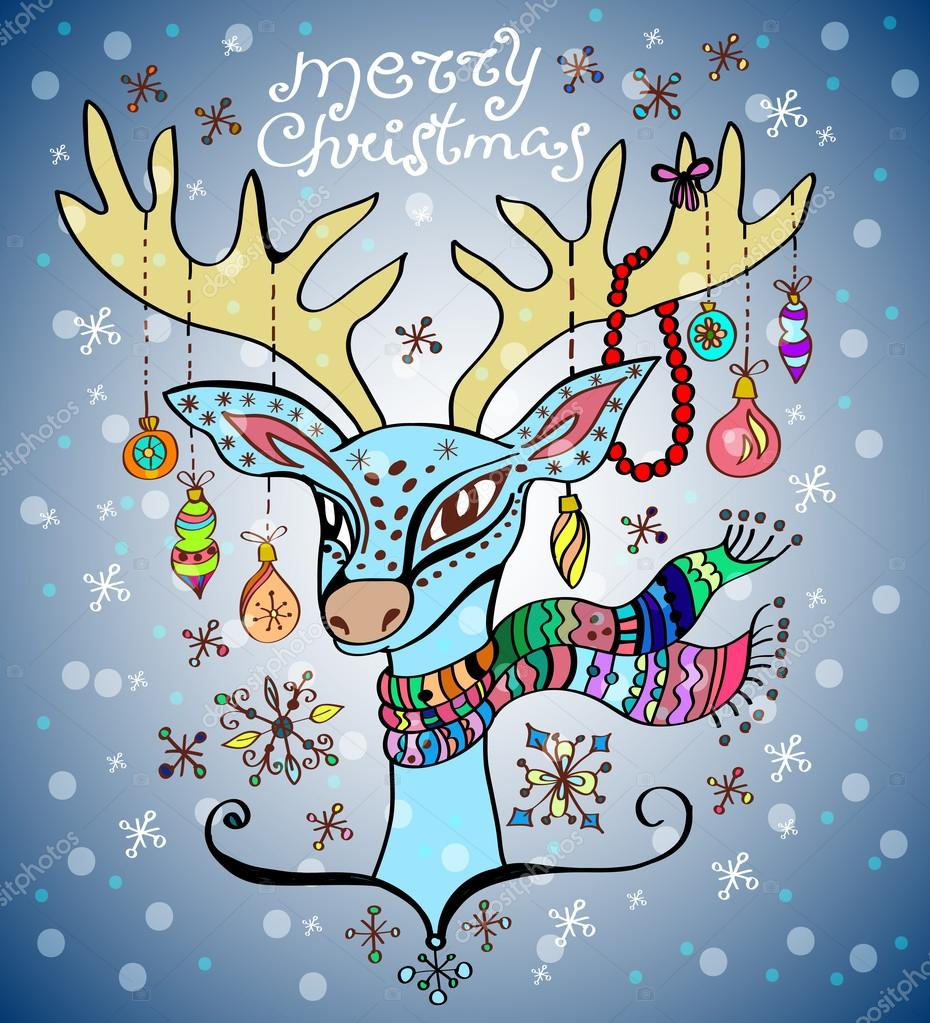Illustration of a christmas deer with a colorful scarf and decoration, beautiful background — Stock Vector #12779376