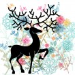 Natural background with deer, flowers and bird — Grafika wektorowa