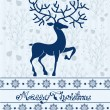 Christmas deer card with text: Merry Christmas — Stock Vector
