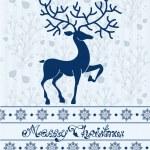 Christmas deer card with text: Merry Christmas — Stock Vector