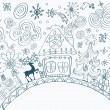 Stock Vector: Christmas hand drawn doodle background with place for text