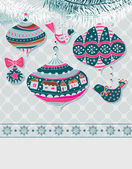 Christmas background with cute decorations — Stock Vector