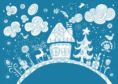 Christmas hand drawn background with place for text — Stock Vector