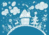 テキストのための場所でクリスマス手描きの背景 — ストックベクタ