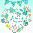 Royalty-Free Stock Vector Image: Flower wreath with hand drawn text