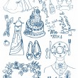 Wedding set of cute glamorous doodles — Stock Vector