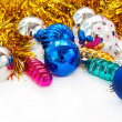 Color Christmas balls and toys background — Stockfoto