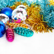Color Christmas balls and toys background - Stock Photo