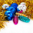 Color Christmas balls and toys background — Stock fotografie