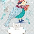 Winter cartoon background with cute bird, Christmas card — Stock Vector