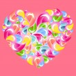 Colorful drops splashing heart over pink — Stock Vector