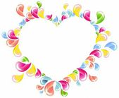 Colorful drops splashing heart frame — Stock Vector