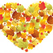 Royalty-Free Stock Vector Image: Autumn leaves in the heart frame